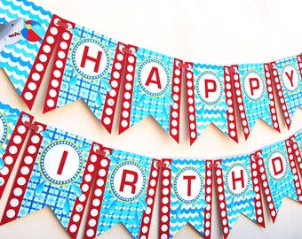 Shark Party Happy Birthday Banner - PRE-MADE