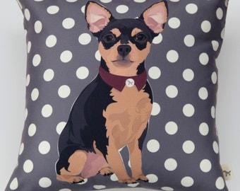 Chihuahua (Black/Brown) Pillow
