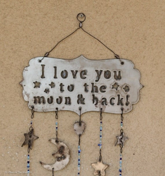i love you to the moon and back wall art wind chime. Black Bedroom Furniture Sets. Home Design Ideas