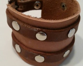 Double Buckle Cuff Genuine Leather