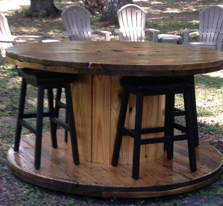Wire spool table for Large wooden spools used for tables