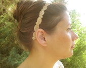 Hair band for bride or bridesmais made from metalic copper Indian design lace , Vintage Boho style wedding hair accessories. style