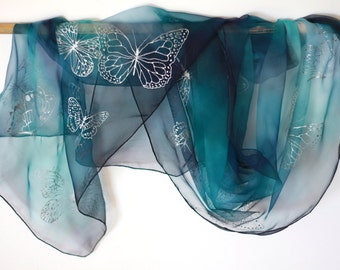 "Hand Painted Silk Scarf, blue scarf with butterflies. Approx 18"" x 71"" (45 x 180 cm)."