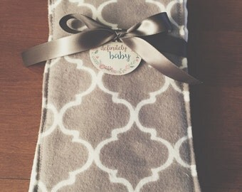 SALE Gray Quatrefoil Single Burp Cloth