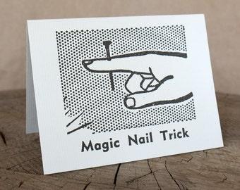 Letterpress Greeting Card, Magic Nail Trick