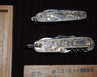 Matched Set of Vintage Sterling Multi-Tool Knives with Original Box