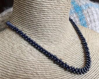 Graduated Hematite Black Glass Beaded Crocheted Necklace