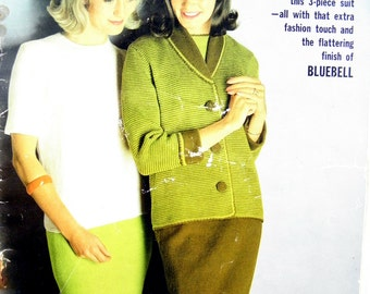 Vintage Mid-century 1960's Patons Knitting Book No. 718 featuring Jackets, Sweaters and a 3 piece suit pattern