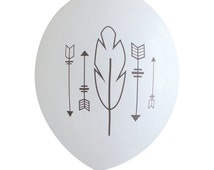 Gunmetal Arrows and Feather on White Party Balloons (Pkg of 3) - PB1115