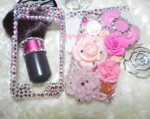 Bling Luxury Back Case Bling Phone Cover-3D Style Bling Case Flowers Pink-Floral Style Case Rhinestones
