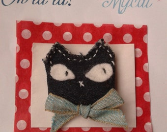 Cat Mishu-Mish-Oh * lala!  Brooch made by hand, No there are two equal! new