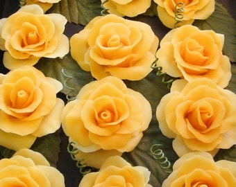 Cold Porcelain Roses ( yellow / flatback)