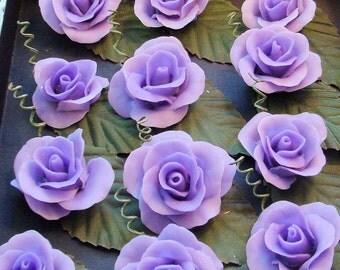 Cold Porcelain Roses ( Purple / flatback)