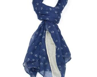 Blue Anchor Print Scarf