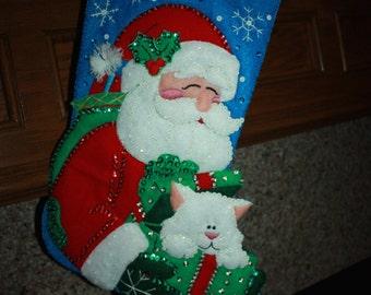 Handmade Christmas Stocking: Santa with Cat