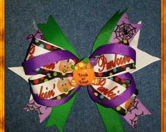 Halloween, Stacked Hair Bow, Grosgrain Ribbon, Hair Clip, Trick or Treat.