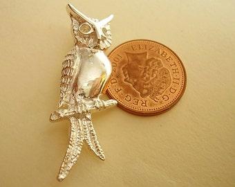 Sterling Silver Owl Brooch Pin In Presentation Box