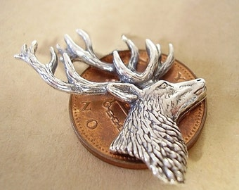 Sterling Silver Stag Stags Head Brooch Pin