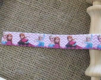 Frozen Pink Grosgrain Ribbon 25mm (Sold In 1 yard lengths)