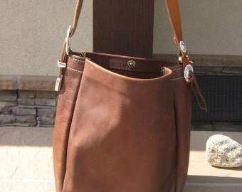 Rustic Brown Leather Bag.  Gold & Sliver Buckle.
