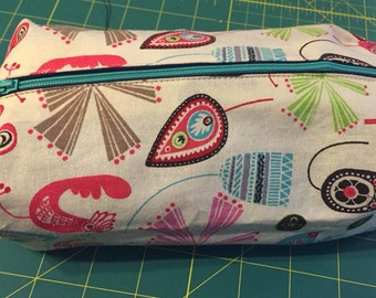 Cute multi colored recycled makeup bag