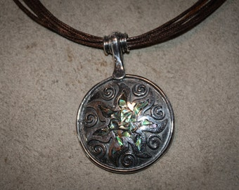 Unique Artisan Handmade Custom Women's Sterling Silver Pendant with Nacre Radiating Sun Perfect Giftd