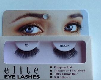 Human hair false eyelashes #12 black