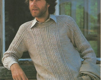 Mens knit  sweater with crew neck patterned front and sleeves jumper tunic vintage pattern instant download pdf