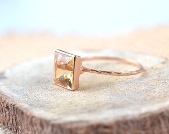 18k Solid Rose Gold Ring - Citrine Gemstone Ring - Engagement Ring - Made To Order
