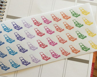 40 colorful Lawn mower stickers for your Life Planner. Removable