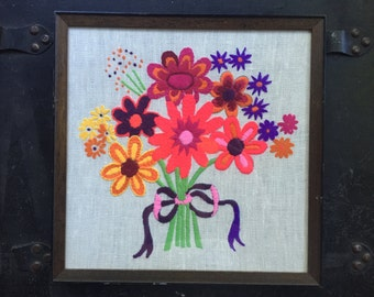 Retro Neon Flower Embroidered Wall Hanging