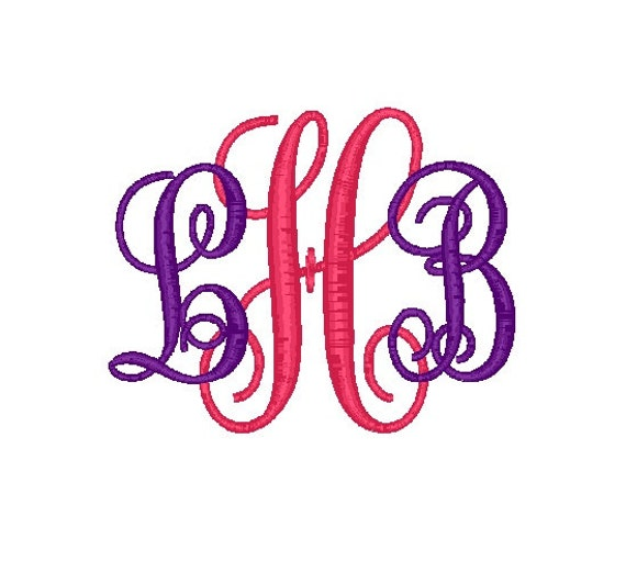 Sizes interlocking font vine circle monogram