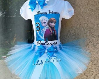 Frozen sisters tutu set / Frozen birthday shirt / Frozen birthday outfit / Frozen Elsa and Anna tutu set / Frozen Elsa and Anna shirt