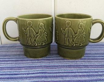 Hansel & Gretel Stacking Mugs Vintage Ceramic Green Japan