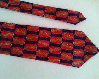 Vintage red blue foulard tie BURTON menswear tie 80s  Blue tie red rectangle geometric pattern wide necktie rooster tie
