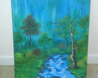 Bob Ross Painting-Forest with Stream-Nature lover, Trees, home decor, art collectible