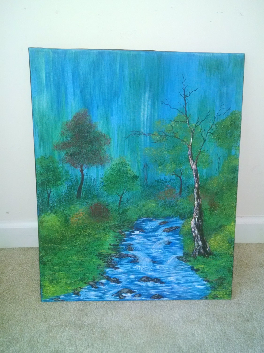 Bob Ross Painting Forest With Stream Nature Lover Trees Home Decor
