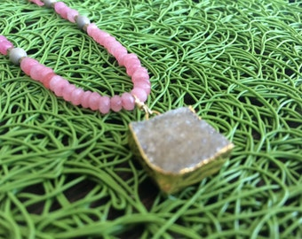 Pink stone necklace with grey druzy square pendant