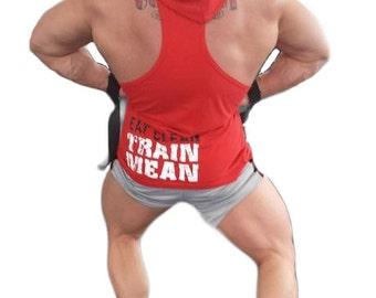 Big Red Apparel - Eat Clean Train Mean Mens Hooded Singlet (Red)