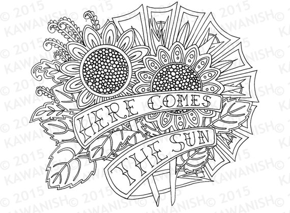 Here Comes The Sun Sunflowers Adult Coloring Page Gift Wall Art Zentangle Line Drawing Encouragement