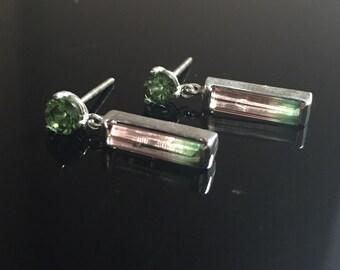 Ladies 14K White Gold Custom Watermelon Tourmaline and Green Tourmaline Dangle Earrings