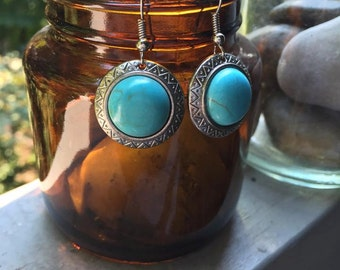 Silver and Turquoise Tribal Style Earrings