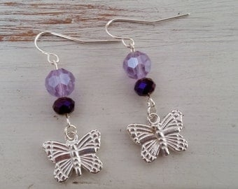 Sale - Purple Butterfly Earrings