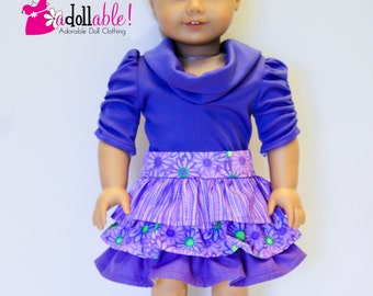 American made Girl Doll Clothes, 18 inch Girl Doll Clothing, Purple Skirt, Purple Muse Shirt made to fit like American girl doll clothes