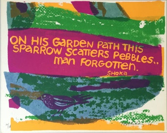 "Vintage Small Haiku Print by Gail Holliday - ""On His Garden Path"""