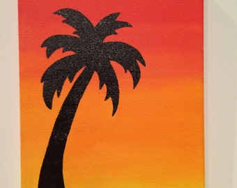 Palm Tree Sunset Silhouette