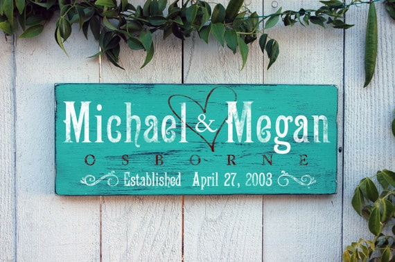 Wedding Gift Signs: Rustic Family Established Signs Personalized By