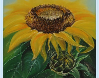 Original Oil Painting Abstract Modern Palette Knife Floral fine art on Canvas A Large Sunflower