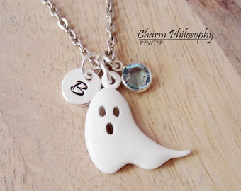 Ghost Necklace - Epoxy Halloween Necklace - Monogram Personalized Initial and Birthstone