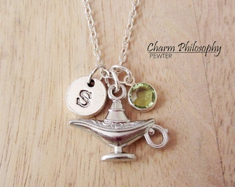 Magic Lamp Necklace - Genie Lamp Charm - Aladdin Necklace - Monogram Personalized Initial and Birthstone